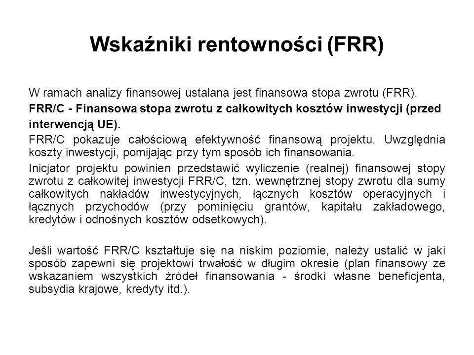Wskaźniki rentowności (FRR) W ramach analizy finansowej ustalana jest finansowa stopa zwrotu (FRR). FRR/C - Finansowa stopa zwrotu z całkowitych koszt