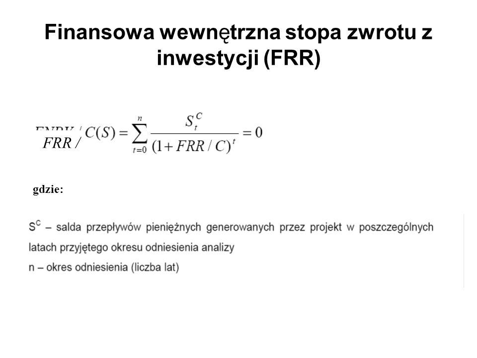 Finansowa wewnętrzna stopa zwrotu z inwestycji (FRR) gdzie: FRR /