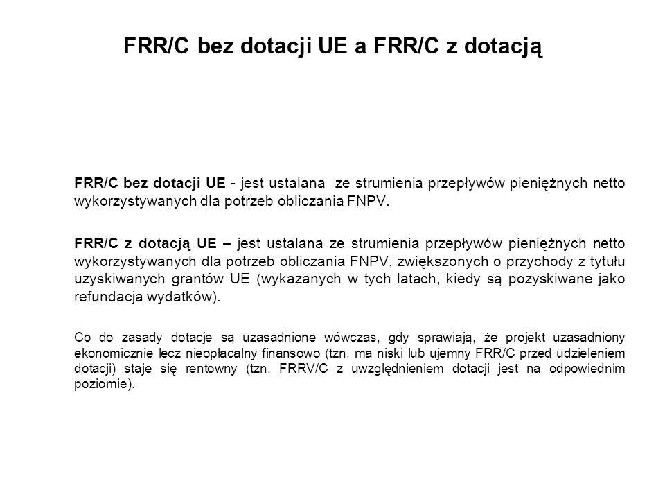 FRR/C bez dotacji UE a FRR/C z dotacją FRR/C bez dotacji UE - jest ustalana ze strumienia przepływów pieniężnych netto wykorzystywanych dla potrzeb ob