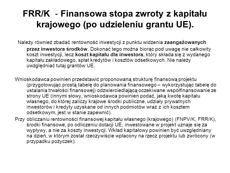 FRR/K - Finansowa stopa zwroty z kapitału krajowego (po udzieleniu grantu UE). Należy również zbadać rentowność inwestycji z punktu widzenia zaangażow