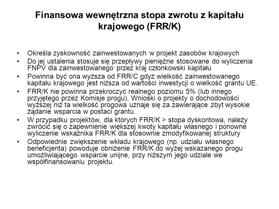 Finansowa wewnętrzna stopa zwrotu z kapitału krajowego (FRR/K) Określa zyskowność zainwestowanych w projekt zasobów krajowych Do jej ustalenia stosuje