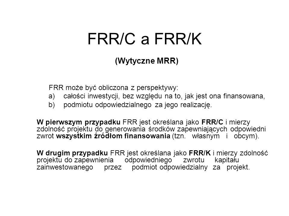 FRR/C a FRR/K (Wytyczne MRR) FRR może być obliczona z perspektywy: a)całości inwestycji, bez względu na to, jak jest ona finansowana, b)podmiotu odpow