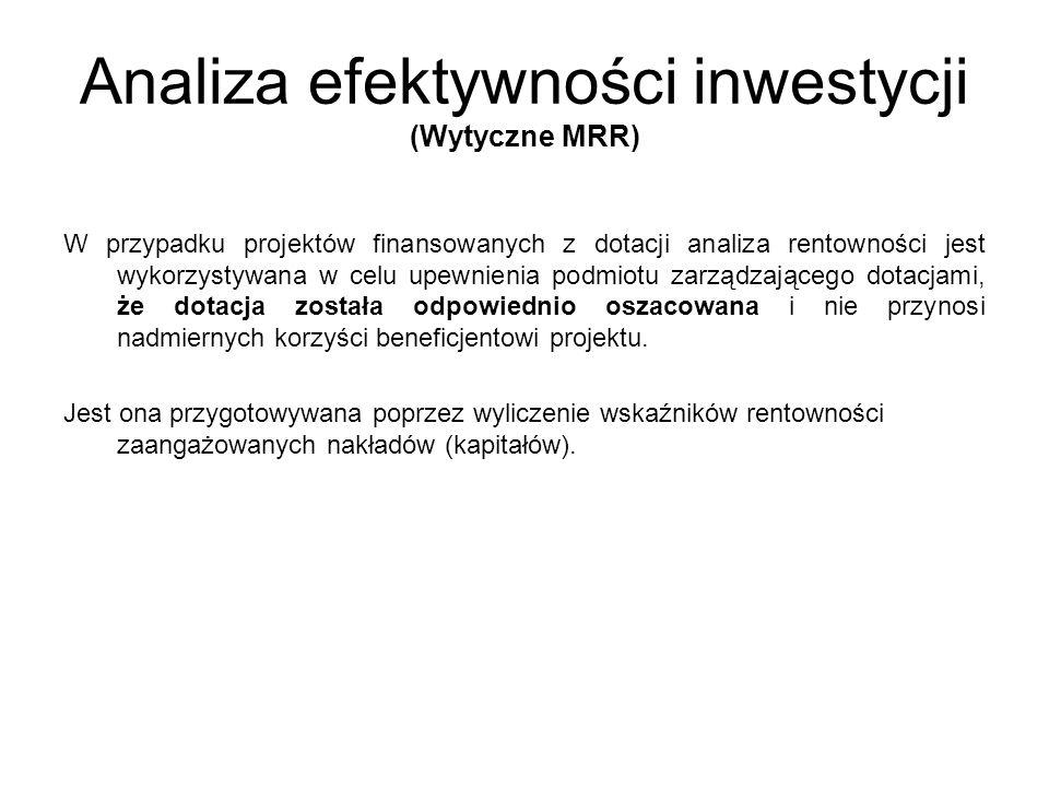 Wskaźniki efektywności finansowej projektu to: (Wytyczne MRR) Finansowa bieżąca wartość netto inwestycji (FNPV/C) Finansowa wewnętrzna stopa zwrotu z inwestycji (FRR/C) Wskaźniki te obrazują zdolność dochodów netto do pokrycia kosztów inwestycji, bez względu na sposób ich finansowania.