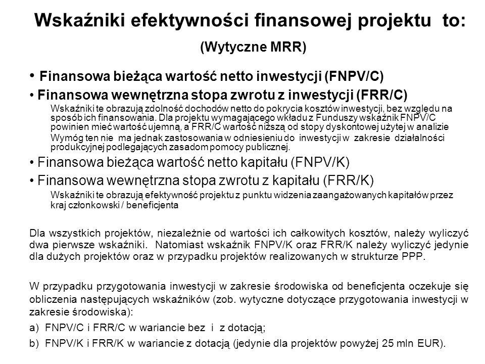 Kategorie przepływów pieniężnych brane pod uwagę w celu wyliczenia wskaźników efektywności finansowej FNPV/C, FRR/C (Wytyczne MRR) a) Dochody operacyjne generowane przez projekt Przychody Wartość rezydualna Koszty operacyjne (nie zawierają amortyzacji i kosztów odsetek) Korekty o zmiany kapitału obrotowego Dochody operacyjne generowane przez projekt wg ujęcia przedstawionego w podrozdziale 11.8 wcześniejszych Wytycznych MRR (przykład liczbowy – model różnicowy): zysk na sprzedaży (tj.