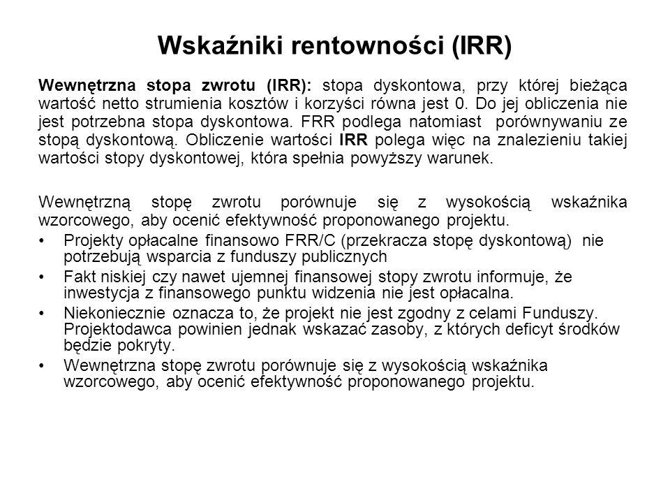 Kategorie przepływów pieniężnych brane pod uwagę w celu wyliczenia wskaźników efektywności finansowej FNPV/K, FRR/K Dochody operacyjne generowane przez projekt Przychody Wartość rezydualna Koszty operacyjne (nie zawierają amortyzacji i kosztów odsetek) Wydatki kapitału własnego (krajowego) Kapitał własny prywatny Krajowy wkład publiczny Spłata kredytów Koszt finansowania (odsetki) W kalkulacji FNPV/K oraz FRR/K nie bierze się pod uwagę wartości dofinansowania z funduszy UE, gdyż celem ustalenia wartości FNPV/K i FRR/K jest ustalenie zwrotu i wartości bieżącej kapitału krajowego zainwestowanego w projekt.