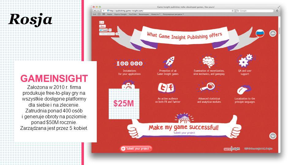 Rosja $25M GAMEINSIGHT Założona w 2010 r. firma produkuje free-to-play gry na wszystkie dostępne platformy dla siebie i na zlecenie. Zatrudnia ponad 4