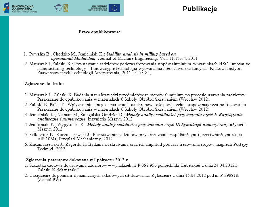 Publikacje Prace opublikowane: 1. Powałka B., Chodzko M., Jemielniak K.: Stability analysis in milling based on operational Modal data, Journal of Mac