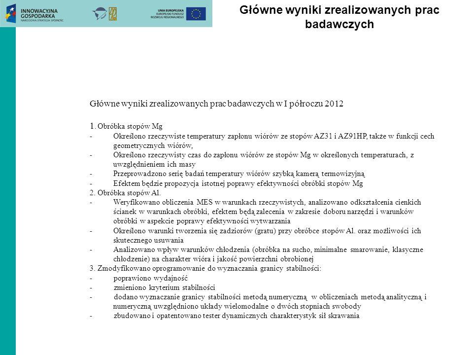 Główne wyniki zrealizowanych prac badawczych Główne wyniki zrealizowanych prac badawczych w I półroczu 2012 1. Obróbka stopów Mg -Określono rzeczywist
