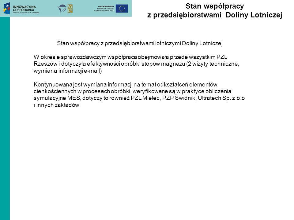 Stan współpracy z przedsiębiorstwami Doliny Lotniczej Stan współpracy z przedsiębiorstwami lotniczymi Doliny Lotniczej W okresie sprawozdawczym współp