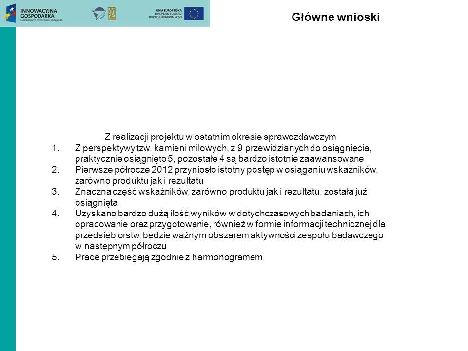Główne wnioski Z realizacji projektu w ostatnim okresie sprawozdawczym 1.Z perspektywy tzw. kamieni milowych, z 9 przewidzianych do osiągnięcia, prakt