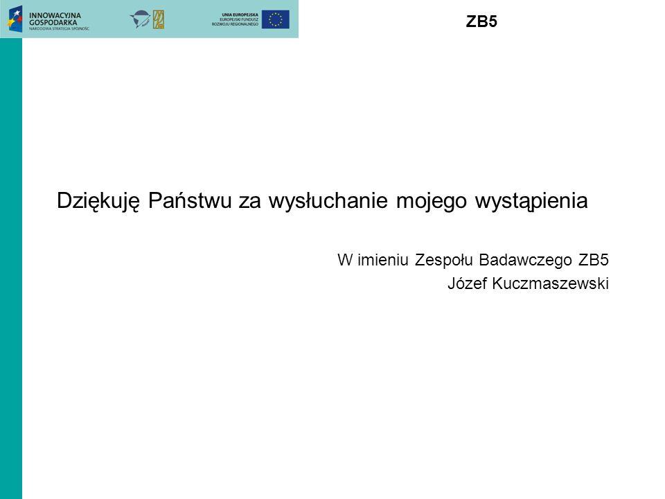 ZB5 Dziękuję Państwu za wysłuchanie mojego wystąpienia W imieniu Zespołu Badawczego ZB5 Józef Kuczmaszewski
