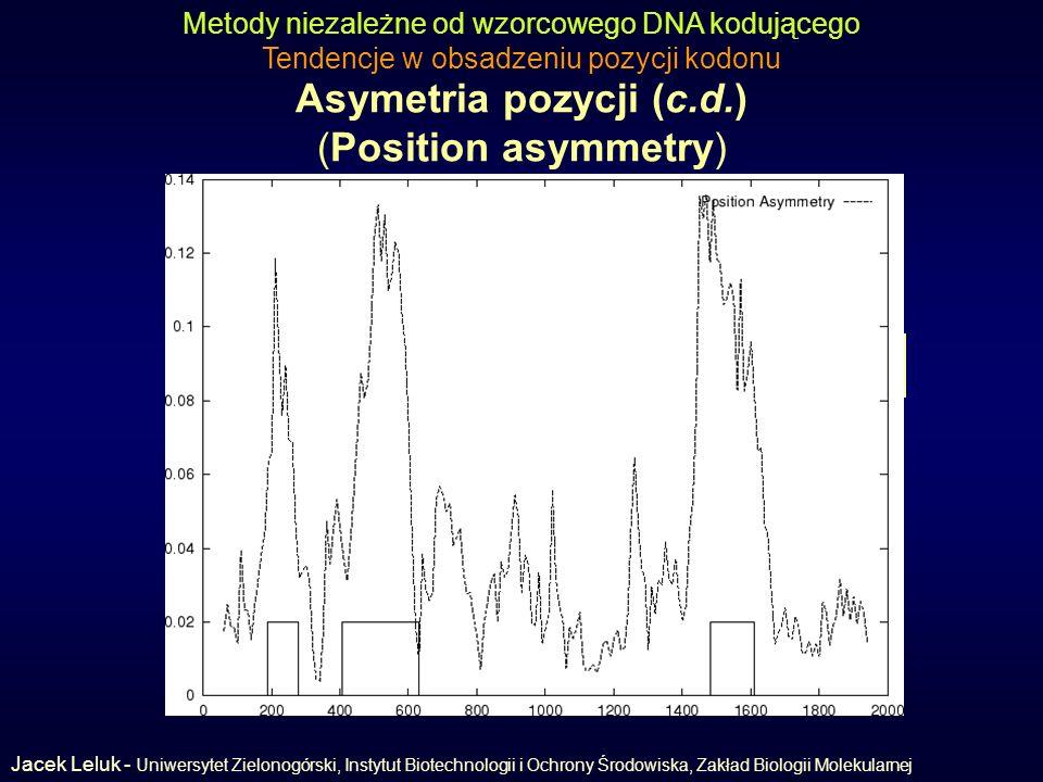 Asymetria pozycji (c.d.) (Position asymmetry) Metody niezależne od wzorcowego DNA kodującego Tendencje w obsadzeniu pozycji kodonu Asymetria pozycji w