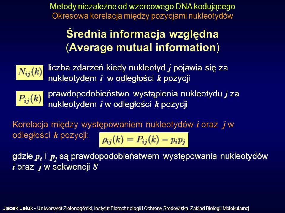 Średnia informacja względna (Average mutual information) Metody niezależne od wzorcowego DNA kodującego Okresowa korelacja między pozycjami nukleotydów liczba zdarzeń kiedy nukleotyd j pojawia się za nukleotydem i w odległości k pozycji Korelacja między występowaniem nukleotydów i oraz j w odległości k pozycji: prawdopodobieństwo wystąpienia nukleotydu j za nukleotydem i w odległości k pozycji gdzie p i i p j są prawdopodobieństwem występowania nukleotydów i oraz j w sekwencji S Jacek Leluk - Uniwersytet Zielonogórski, Instytut Biotechnologii i Ochrony Środowiska, Zakład Biologii Molekularnej