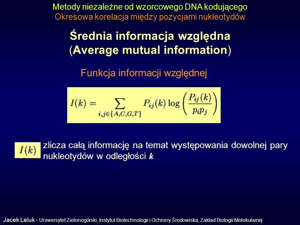 Średnia informacja względna (Average mutual information) Metody niezależne od wzorcowego DNA kodującego Okresowa korelacja między pozycjami nukleotydów Funkcja informacji względnej zlicza całą informację na temat występowania dowolnej pary nukleotydów w odległości k Jacek Leluk - Uniwersytet Zielonogórski, Instytut Biotechnologii i Ochrony Środowiska, Zakład Biologii Molekularnej