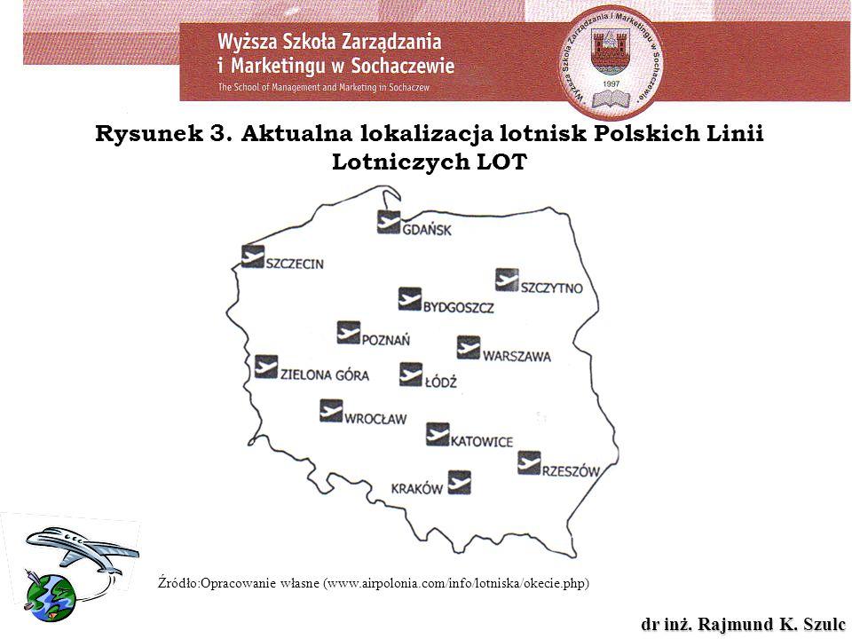 dr inż. Rajmund K. Szulc Rysunek 3. Aktualna lokalizacja lotnisk Polskich Linii Lotniczych LOT Źródło:Opracowanie własne (www.airpolonia.com/info/lotn