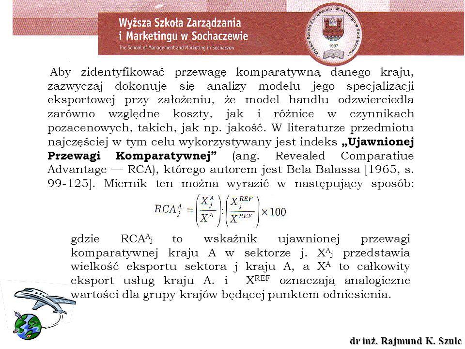 dr inż. Rajmund K. Szulc Aby zidentyfikować przewagę komparatywną danego kraju, zazwyczaj dokonuje się analizy modelu jego specjalizacji eksportowej p