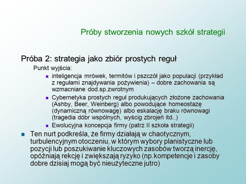 Próby stworzenia nowych szkół strategii Próba 1: strategia jako tożsamość organizacji Geneza: psychologia społeczna. Dwuelementowy model tożsamości n