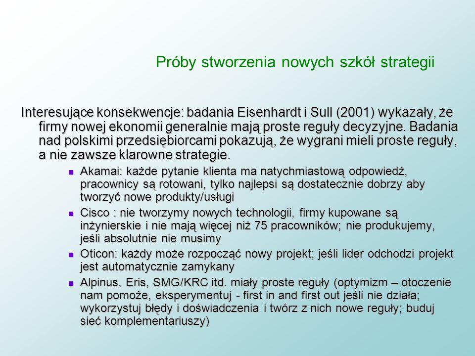 Próby stworzenia nowych szkół strategii Definicja strategii: strategia to proste reguły postępowania, które zapewniają skuteczność i ją systematycznie