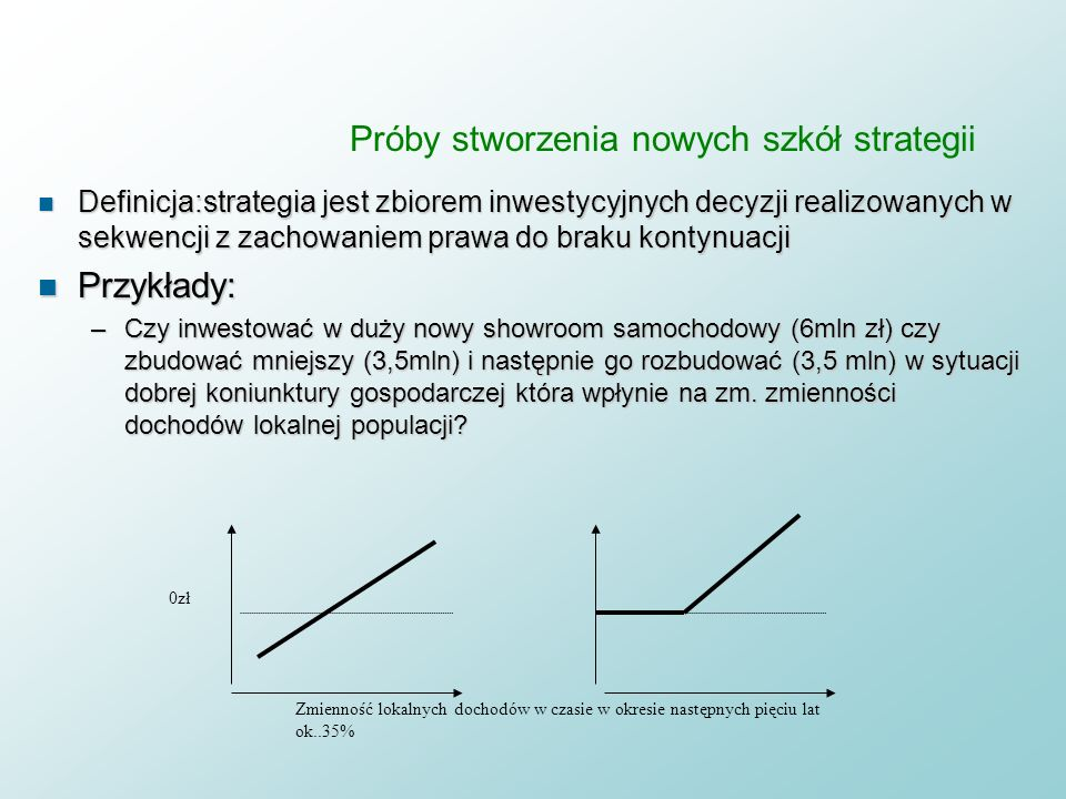 Próby stworzenia nowych szkół strategii n klasyczne odpowiedzi strategiczne: –Nie robić nic, czekać –Inwestować w informacje pozwalające na zmniejszen
