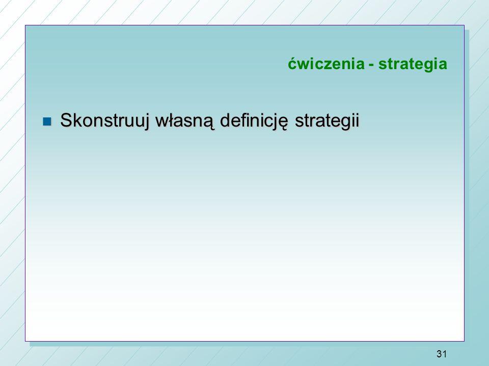 DEFINICJE STRATEGII n Czym strategia nie jest: 1. Programem działań dostosowawczych, reakcją na krótkotrwałe fluktuacje i zaburzenia powstające w otoc