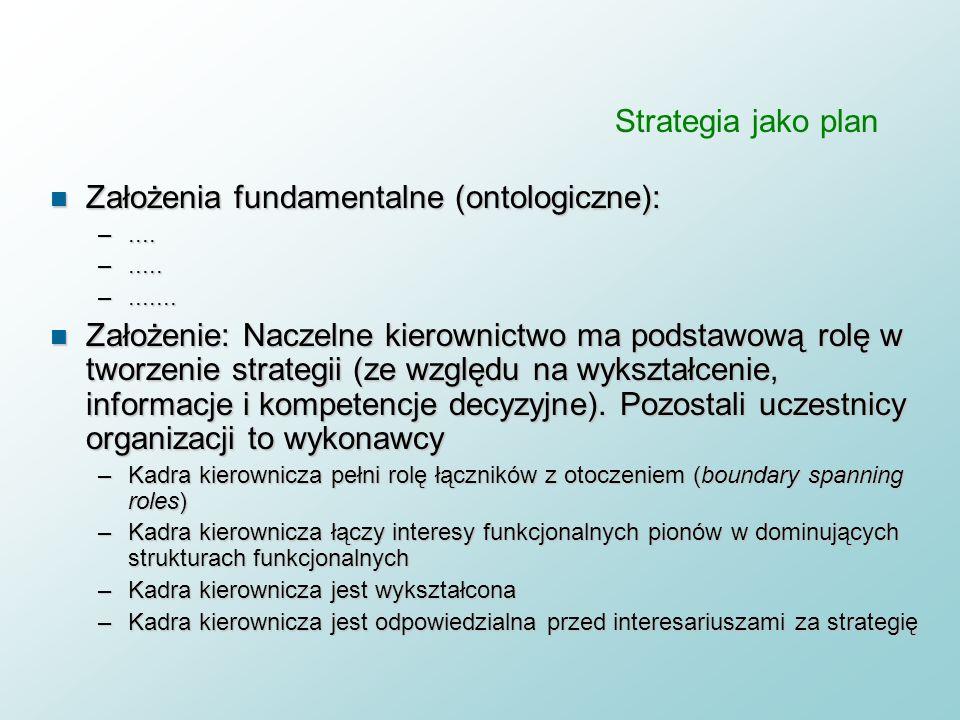 n Definicja strategii : Strategia jest zbiorem długofalowych celów i zadań oraz wynikających z nich przedsięwzięć realizacyjnych n Założenie: firmy mo