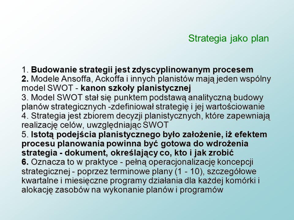 Strategia jako plan 1. Założenie, że dzięki budowaniu planów strategicznych można przyszłość kształtować w racjonalny i uporządkowany sposób 2. W plan