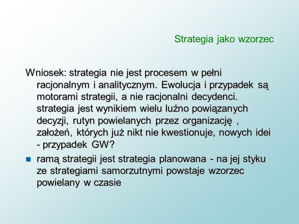 Strategia jako wzorzec - podejście ewolucyjne n Założenie 1: Istotą i sensem strategii jest adaptacja i proces uczenia się organizacji w warunkach –ni