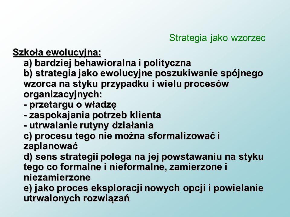 Strategia jako wzorzec n strategia jest wg. Mintzberga (1994) wynikiem planowych i samorzutnych strategii n stratedzy to liderzy kontrolujący ogranicz