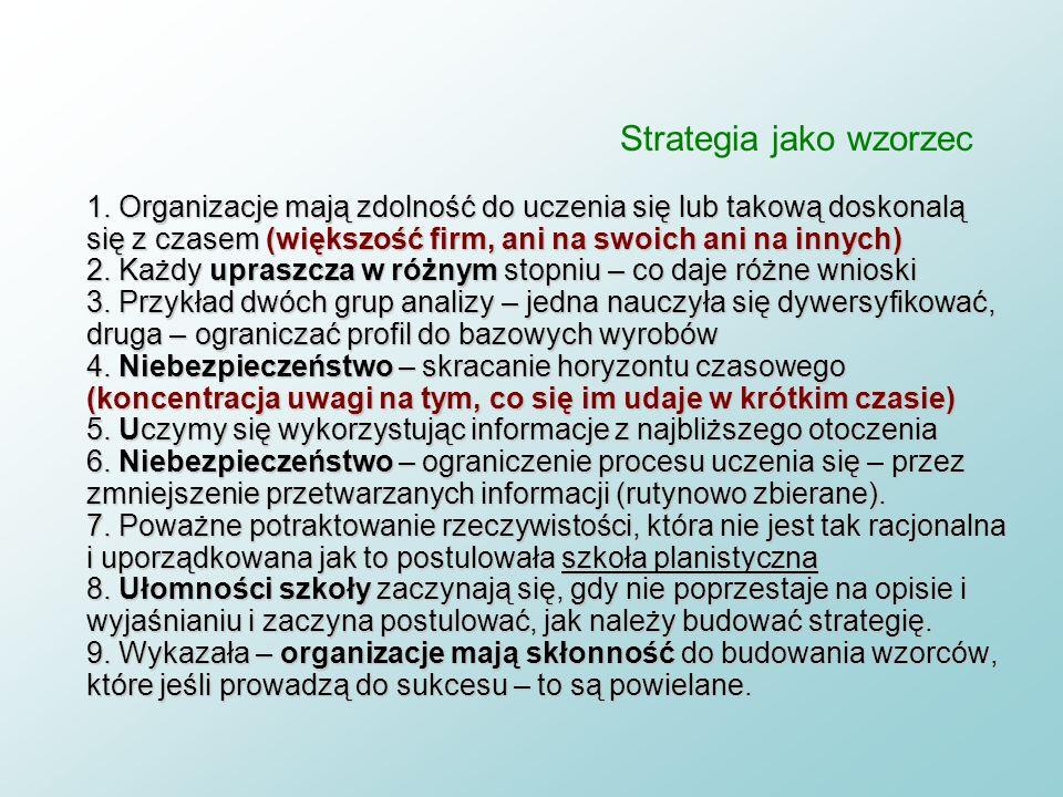 Strategia jako wzorzec 1. Tkanie strategii z kawałków organizacyjnej rzeczywistości 2. Szkoła ewolucyjna ma charakter deskryptywny (opisowy) 3. Opiera