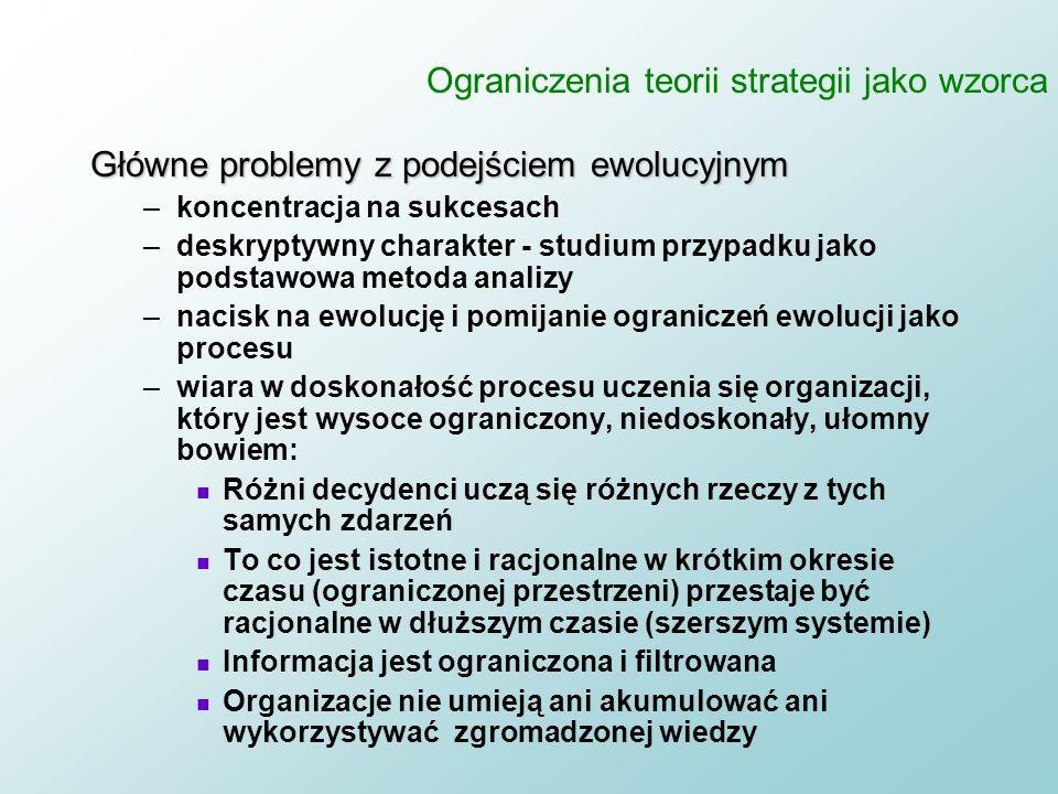 Strategia jako wzorzec 1. Organizacje mają zdolność do uczenia się lub takową doskonalą się z czasem (większość firm, ani na swoich ani na innych) 2.