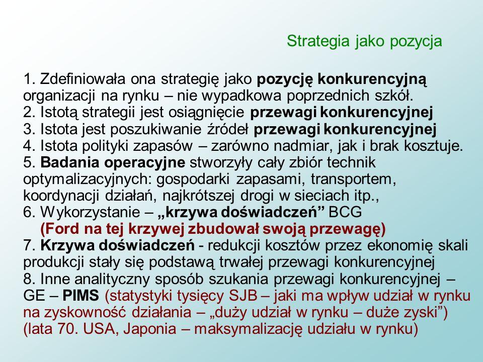Strategia jako pozycja n Szkoła pozycyjna a) powrót do sformalizowanego charakteru procesu budowania strategii w bardziej wyrafinowany sposób niż szko