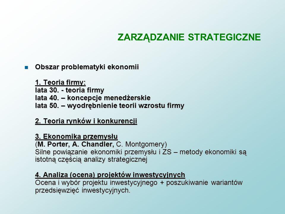 ZARZĄDZANIE STRATEGICZNE ZARZĄDZANIE STRATEGICZNE – u podstaw stanęły dziedziny problematyki: - ekonomicznej, - organizacji, - informacyjnej + informa