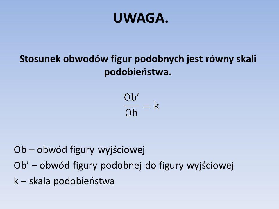 UWAGA. Stosunek obwodów figur podobnych jest równy skali podobieństwa. Ob – obwód figury wyjściowej Ob – obwód figury podobnej do figury wyjściowej k