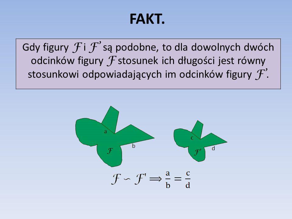 FAKT. Gdy figury F i F są podobne, to dla dowolnych dwóch odcinków figury F stosunek ich długości jest równy stosunkowi odpowiadających im odcinków fi