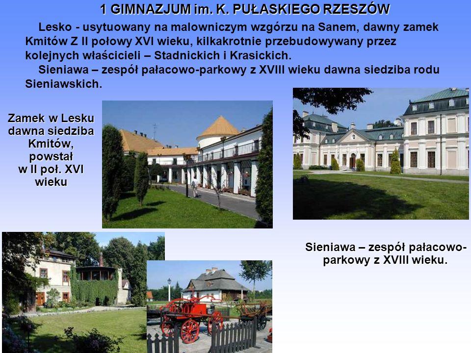1 GIMNAZJUM im. K. PUŁASKIEGO RZESZÓW Zamek w Lesku dawna siedziba Kmitów, powstał w II poł. XVI wieku Sieniawa – zespół pałacowo- parkowy z XVIII wie