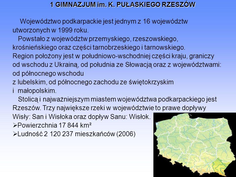 1 GIMNAZJUM im. K. PUŁASKIEGO RZESZÓW Województwo podkarpackie jest jednym z 16 województw utworzonych w 1999 roku. Powstało z województw przemyskiego