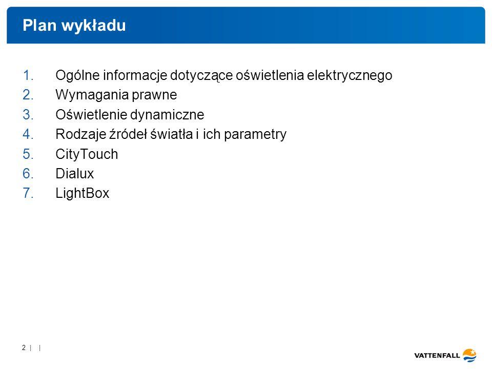 2 | | Plan wykładu 1.Ogólne informacje dotyczące oświetlenia elektrycznego 2.Wymagania prawne 3.Oświetlenie dynamiczne 4.Rodzaje źródeł światła i ich parametry 5.CityTouch 6.Dialux 7.LightBox