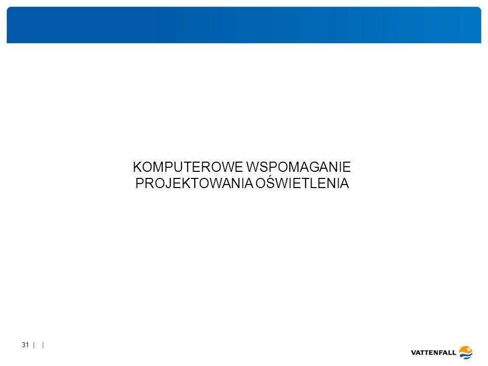 31 | | Komputerowe wspomaganie w obliczeniach oświetlenia zewnętrznego i wewnętrznego na przykładzie programu DIALUX KOMPUTEROWE WSPOMAGANIE PROJEKTOWANIA OŚWIETLENIA