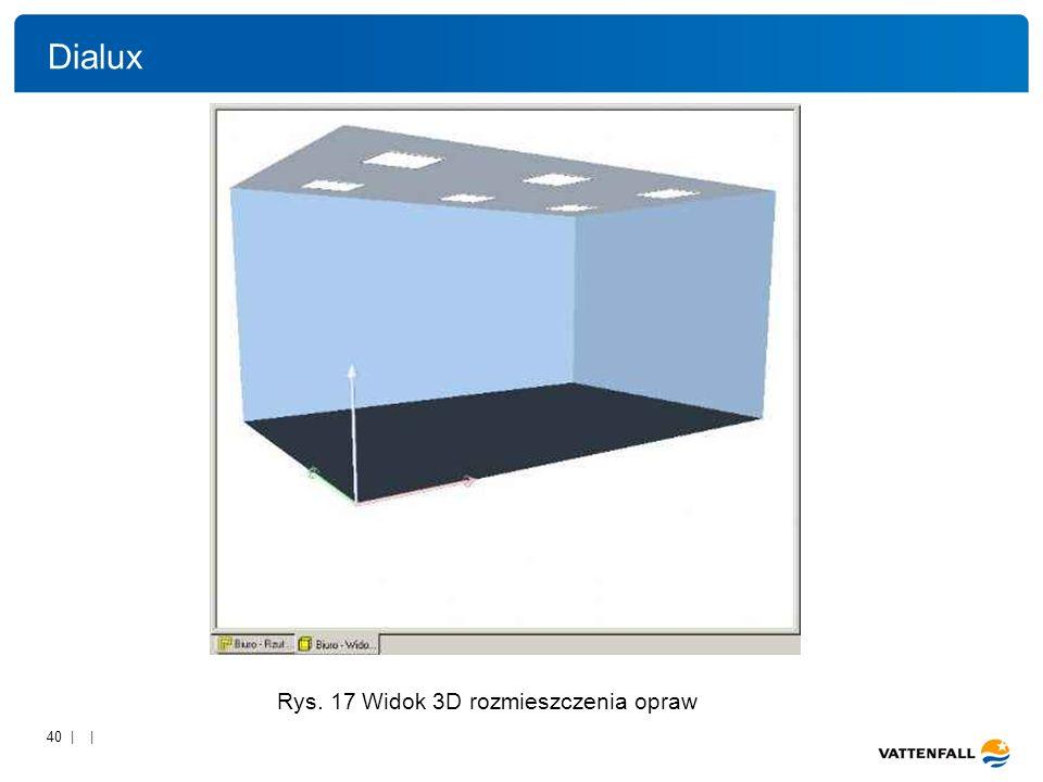 40 | | Rys. 17 Widok 3D rozmieszczenia opraw Dialux