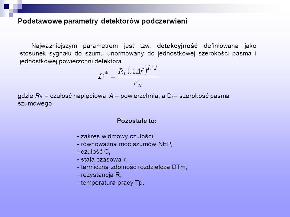 Podstawowe parametry detektorów podczerwieni Najważniejszym parametrem jest tzw. detekcyjność definiowana jako stosunek sygnału do szumu unormowany do