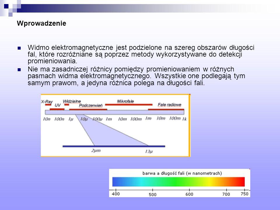 Wprowadzenie Widmo elektromagnetyczne jest podzielone na szereg obszarów długości fal, które rozróżniane są poprzez metody wykorzystywane do detekcji