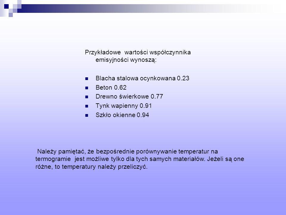 Przykładowe wartości współczynnika emisyjności wynoszą: Blacha stalowa ocynkowana 0.23 Beton 0.62 Drewno świerkowe 0.77 Tynk wapienny 0.91 Szkło okien
