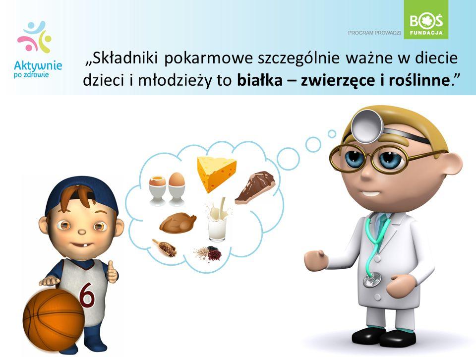 Składniki pokarmowe szczególnie ważne w diecie dzieci i młodzieży to białka – zwierzęce i roślinne.
