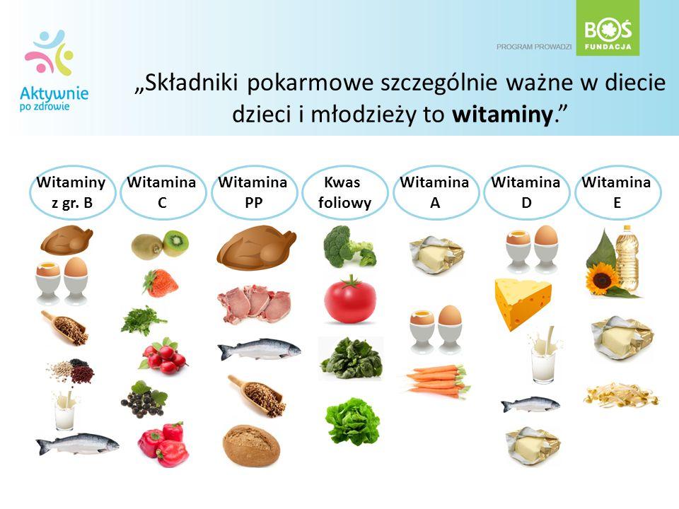 Składniki pokarmowe szczególnie ważne w diecie dzieci i młodzieży to witaminy. Witaminy z gr. B Witamina C Witamina PP Kwas foliowy Witamina A Witamin