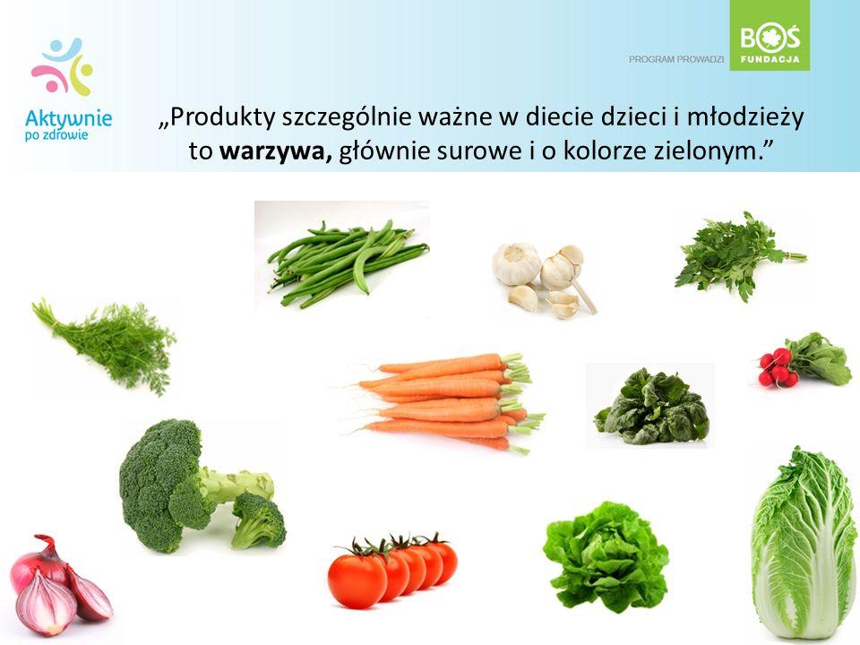Produkty szczególnie ważne w diecie dzieci i młodzieży to warzywa, głównie surowe i o kolorze zielonym.
