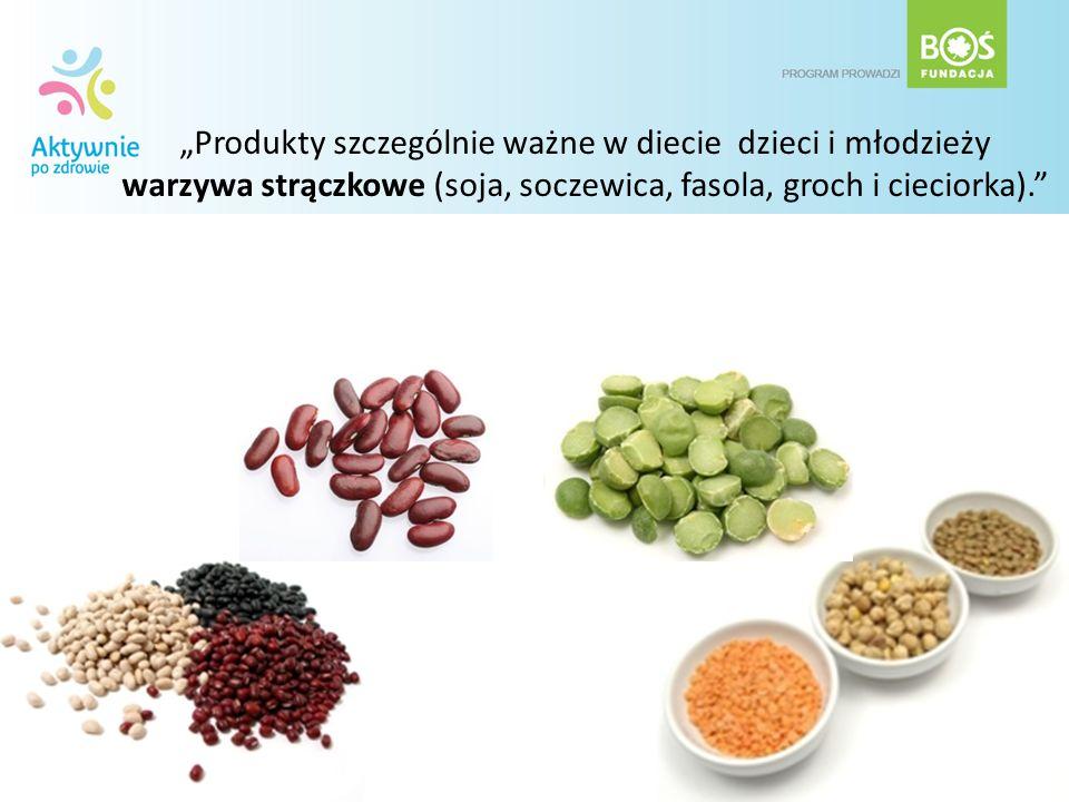 Produkty szczególnie ważne w diecie dzieci i młodzieży warzywa strączkowe (soja, soczewica, fasola, groch i cieciorka).