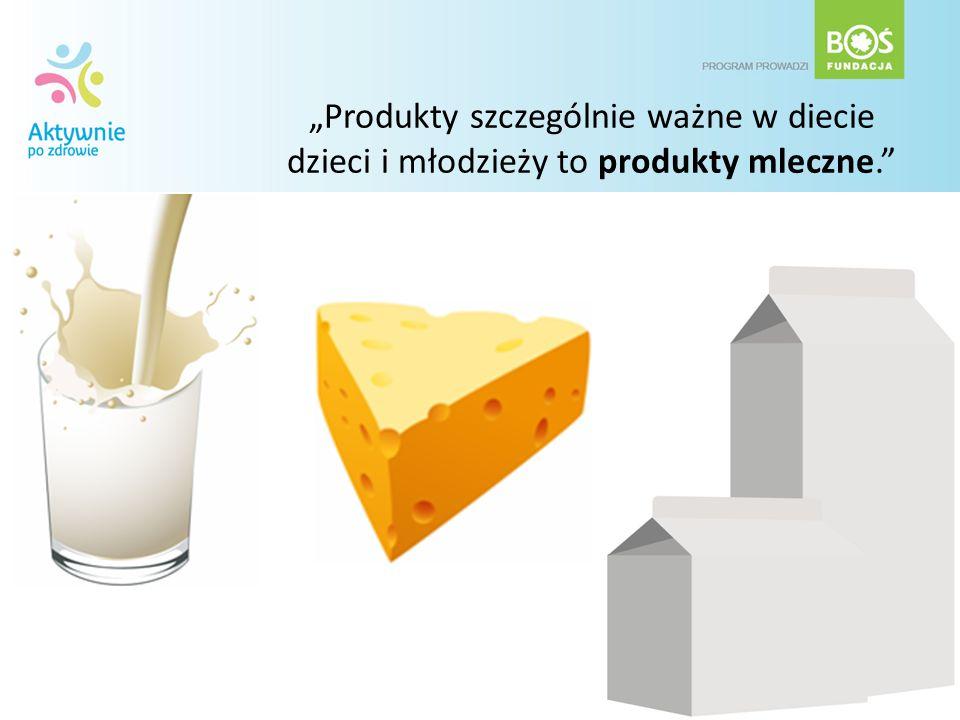 Produkty szczególnie ważne w diecie dzieci i młodzieży to produkty mleczne.
