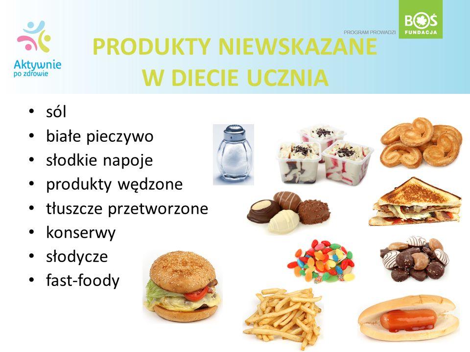 PRODUKTY NIEWSKAZANE W DIECIE UCZNIA sól białe pieczywo słodkie napoje produkty wędzone tłuszcze przetworzone konserwy słodycze fast-foody