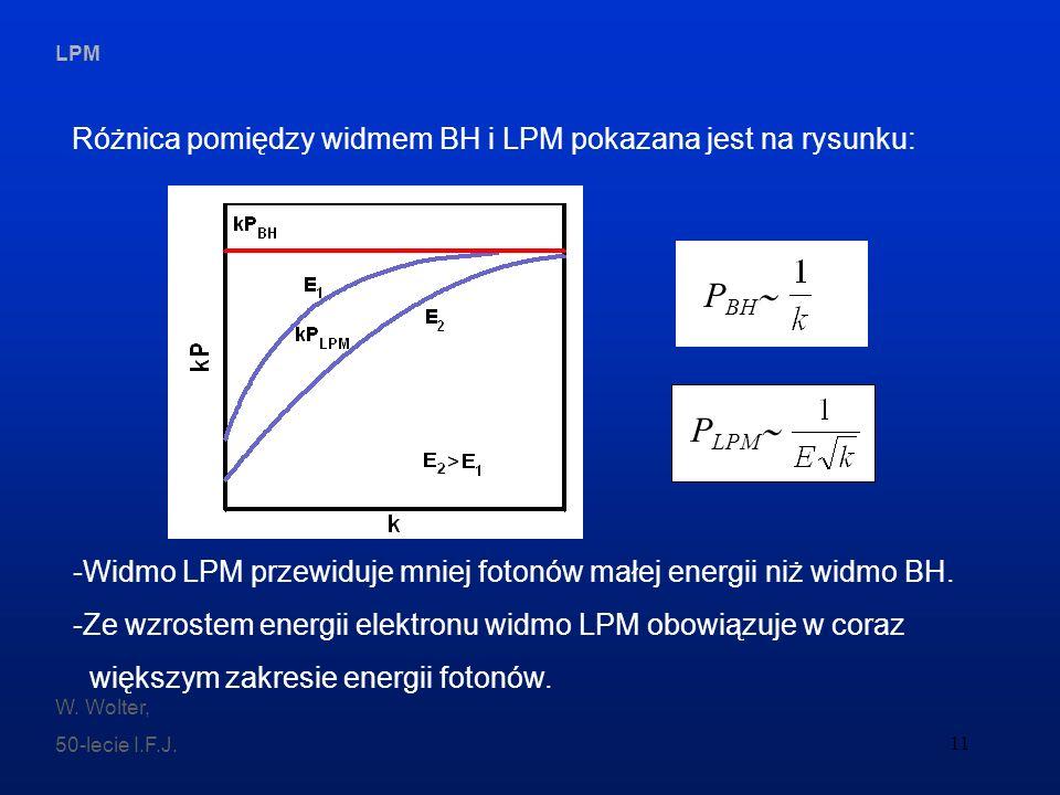 LPM W. Wolter, 50-lecie I.F.J. 11 Różnica pomiędzy widmem BH i LPM pokazana jest na rysunku: -Widmo LPM przewiduje mniej fotonów małej energii niż wid