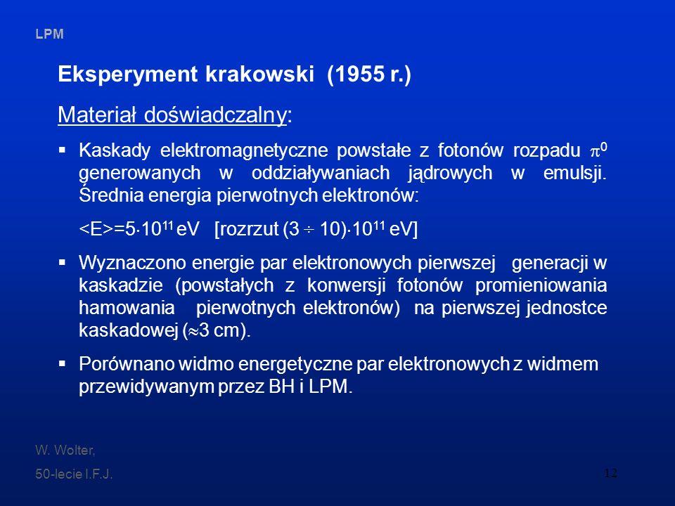 LPM W. Wolter, 50-lecie I.F.J. 12 Eksperyment krakowski (1955 r.) Materiał doświadczalny: Kaskady elektromagnetyczne powstałe z fotonów rozpadu 0 gene